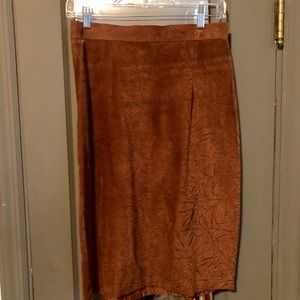 Brown suede skirt with black print design